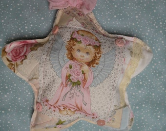 Quilted Angel Star Ornament OR Lavender Sachet Shabby Chic Patchwork