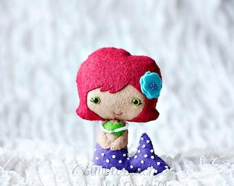 "Made to Order 4.5"" Little Mermaid Handmade Doll - Felt Doll - Disney - Fairy Tale Doll - Little Mermaid Doll -Ariel Doll - Gingermelon Doll"