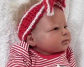 Newborn up to 6 Month sizes....Red & White KNOTTED Headband...Suitable all year...NEW ITEM...Adorable