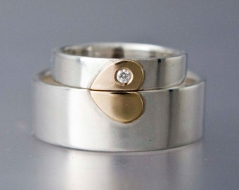 Gold Heart with Diamond Wedding Band Set in 14k Gold and Sterling Silver - 4mm and 8mm Flat Bands