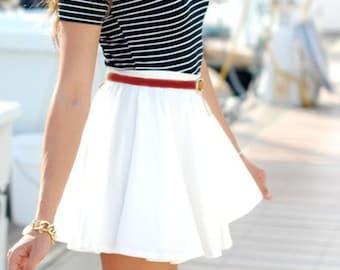 Short Poly Blend Circle Skirt with waistband - WHITE -  White Circle Skirt - White Summer Skirt -Twirl Skirt - Skater Skirt - free ship