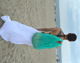 Limited Color - Mint Green Oversized Beach Bag - Crochet Knit - Market Tote -  Unlined is Ready To Ship