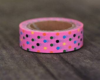 Pink Multi Polka Dot  -  Single Roll 10 mm