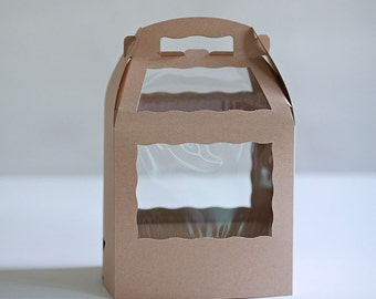Set of 6- 8.5 x 6 x 8 inch Kraft Brown or White Cake Pop Box with base for sticks or straws