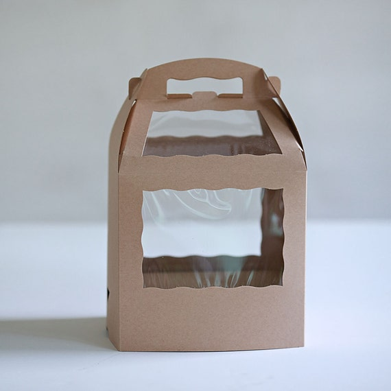 Set of 6- 8.5 x 6 x 8 inch Kraft Cake Pop Box  with base for sticks