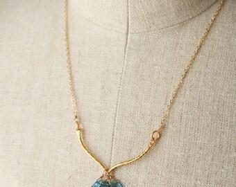Blue Gemstone Necklace, Gemstone Necklace, Blue Necklace, London Blue Topaz