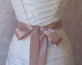 Dusty Pink Satin Ribbon, 1.5 Inch Wide Double Face, Dusty Rose Ribbon Sash, Pale Rose Bridal Sash, Wedding Belt, 4 Yards