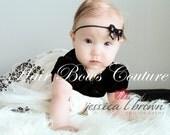 Infant Newborn Black Sequins Bow Headband Baby Bow Headband Hair Bow Headband, fancy headbands, baby pitcures, photo prop, Mini bow headband