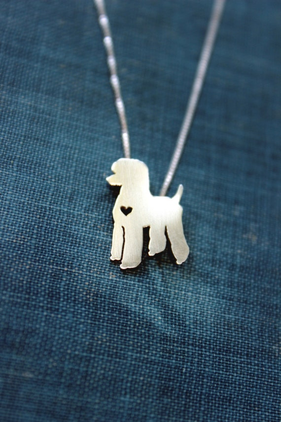 Standard Poodle Necklace Sterling Silver Hand By