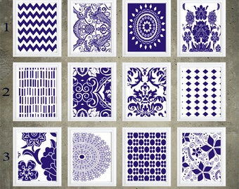 Blue and white Damask Wall Art Prints -Pick Any 6 Prints,   8x10 Prints - Custom Colors & Sizes Available on request:)