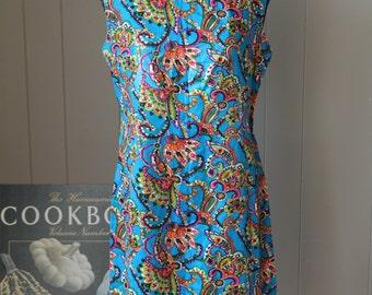 60s Silky Teal Blue Paisley Shift Dress / Handmade Rayon Sheath Dress / California Paisley Dress / Small