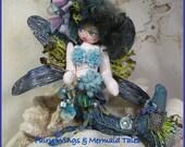 OOAK Mermaid Art Doll Fairy Mermaid Dragonfly Art Doll Cloth Soft Sculpture in Blue, Purples & Green