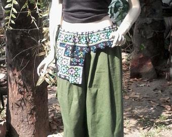 Black 100 percent hemp pants patchwork with full batik/embroidery Green