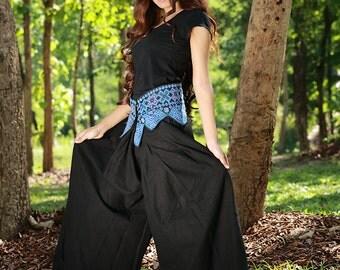 100 percent Natural cotton wide leg pants black for Women Plus size SALE