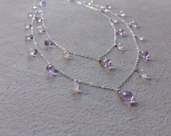 Pink Amethyst Rose Quartz stone necklace.  Wire wrapped briolettes.  Sterling silver or gold.