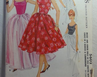 1960 Ball Gown, Party Dress, Full Skirt, Sleeveless, Princess Dress- Vintage 50s McCall's Sewing Pattern 5602- Size 13 Bust 33 CUT