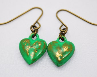 Green Heart Earrings in Antique Brass - Brass Heart Earrings. Hand Painted Distressed Earrings. OOAK Earrings for Valentine's Day Gift.