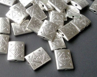 Silver Spacer - Rectangular Spacer Beads - Drilled Connector - 12mm Pillow Rounded Beads - 18 PCS  Double Sided - Diy Supplies