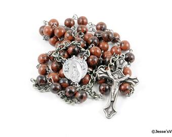 Traditional Rosary Catholic Mahogany Obsidian Gunmetal & Pewter