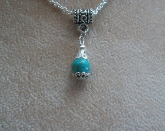 Turquoise Angel Heart Necklace, Turquoise Bead Drop, choice of 2 colors and 2 styles, by Brendas Beading on Etsy
