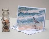 """Assorted Note Cards- 8 Note Cards with Envelopes, Four Assorted Sea Bird Paintings- """"Shorebirds"""" Watercolor Art by Laura D. Poss"""