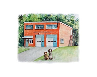 Brooklin Fire Hall - Archival Quality print made from the Original Watercolor