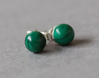 Malachite earrings on sterling silver studs, 6mm stud earrings.