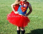 Super Man Tutu Dress Costume With Optional Red Cape ~ Size 2T to Girl's Size 6