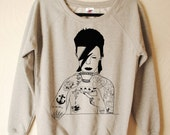 David Bowie hand printed sweater by Emilythepemily.