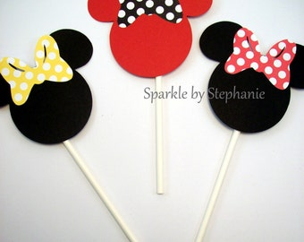 """Cupcake Toppers Minnie Mouse - 2.5"""" - Color/Bow of your Choice - Set of 12"""
