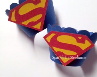 Superman Cupcake Wrappers l Superman Birthday Decorations l Superhero Wrapper l Superman Birthday Party l Superman Baby Shower l Set of 12