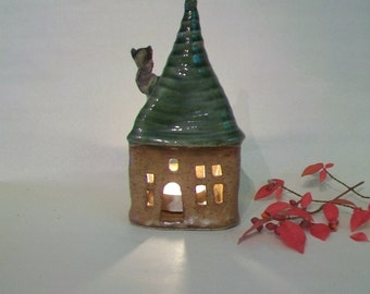 Fairy House -- Luminary, Candle Holder  - Holiday Decor -- Handmade on Potters Wheel -- Ready to Ship