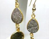 Dangle Earrings Tear Drop Titanium Druzy Natural Labradorite Gem Stones 14kt Gold Filled One of a Kind Handmade Lisajoy Sachs Design Modern