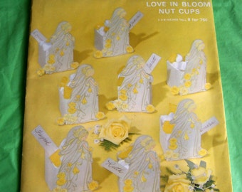 "Hallmark ""Love In Bloom"" 8 unassembled paper nut cups - new in vintage package - yellow and white wedding or bridal shower colors"