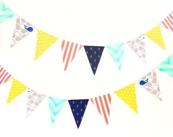 Bunting, Banner, Fabric Pennant Flags, Nautical Birthday, Navy, Coral, Mint, Yellow, Grey, Anchors, Whales, Nautical Baby Nursery, Garland