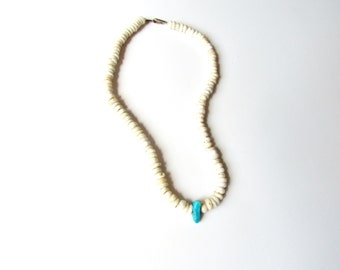 Vintage Native American Shell Necklace With Raw Turquoise