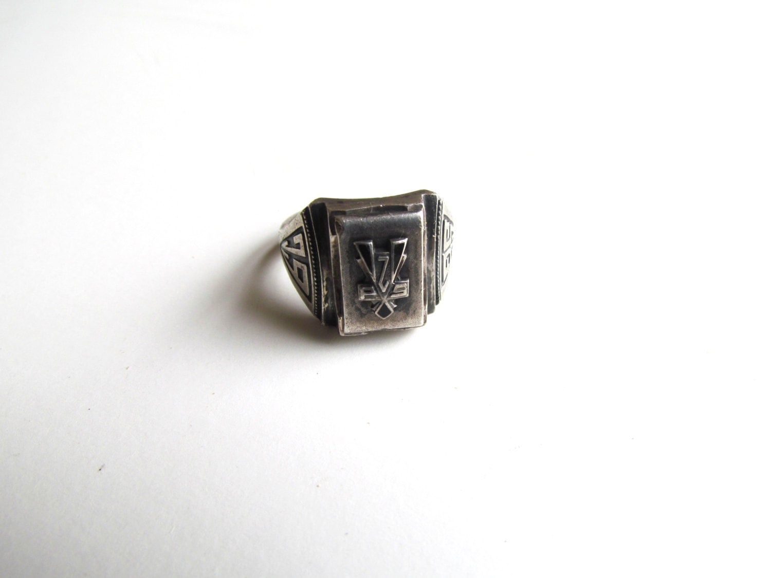 antique signet ring mens sterling silver class by