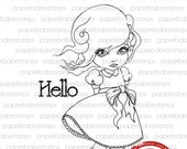 MayLeeDee - Paperbabe Stamps - Red Rubber Cling Mounted Stamps - Cute Girl Rubber Stamp for paper crafting and scrapbooking.