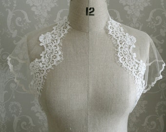 Silk tulle and lace shrug - ivory corded lace trim