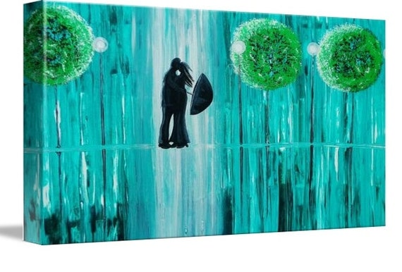 LE Deep Canvas Wrap Giclee Print of Original Painting Spring Rain Romance Amber Elizabeth Lamoreaux Impasto Rainy Street Love Green Signed