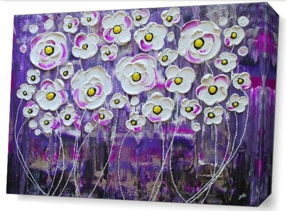LE Deep Canvas Wrap Giclee Print of Original Painting Purple Rain Blossoms Rainy Flowers Violet Impasto Art Yellow Centers White Modern Art