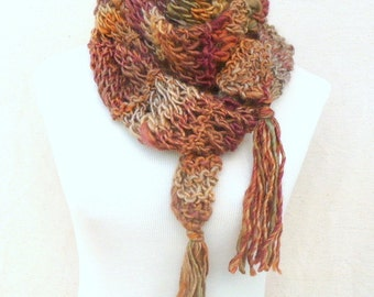 Hand knit scarf - Autumn colors with tassels multicolor Winter Accessories Womens Fashion Scarf