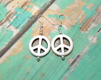 White Howlite Peace Sign Earrings.
