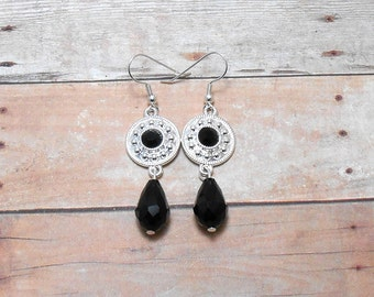 Black Drop Glass Earrings - Clearance
