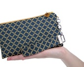 Navy blue bridesmaid handbag is a classic fabric clutch bag featuring yellow diamonds