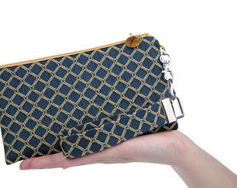 Navy blue bridesmaid handbag is a classic fabric clutch bag featuring yellow diamonds