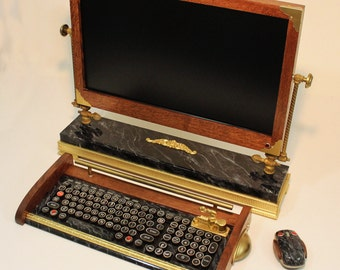 "Custom Built  - 24""  Widescreen LED ISP Monitor-Wireless Keyboard-Mouse Combo ...Victorian Steampunk Style"