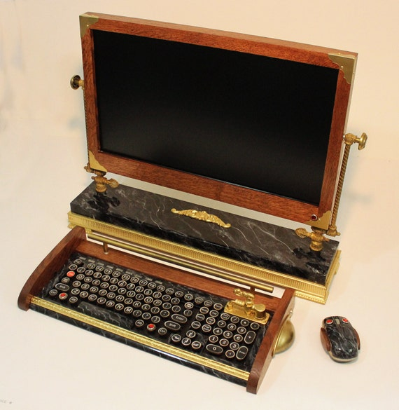 """Custom Built  - 24""""  Widescreen LED ISP Monitor-Wireless Keyboard-Mouse Combo ...Victorian Steampunk Style"""