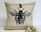 Bee Insect Screen Print Pillow - Burlap Pillow - Decorative Accent Cushion Cover