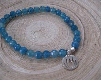 Sterling Silver Lotus Charm Bracelet, Blue Agate Stretch Bracelet with Sterling Silver Lotus Charm, Modern Lotus Pendant, Stack Bracelets